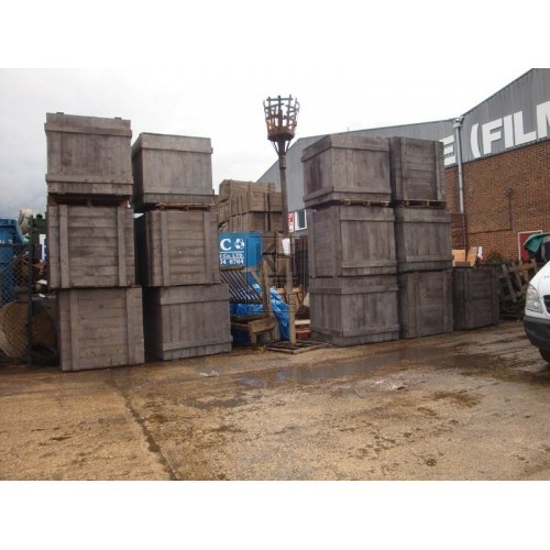 Large square wood packing crates