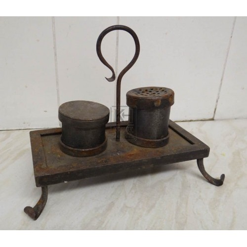 Iron writing set - inkwell & sander