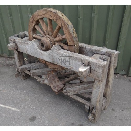 Wheelwrights stand & aged wheel