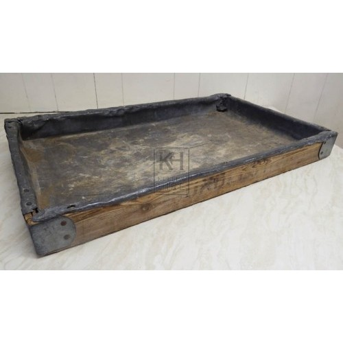 Lead lined wood bakers tray