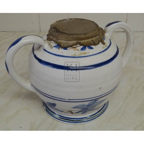 White china delft 2-handle pot