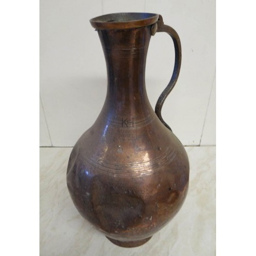 Large bulbous copper jug