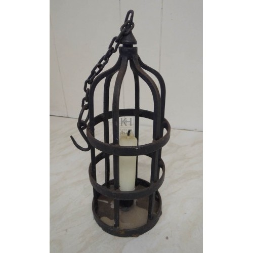Pointed iron cage lantern with chain
