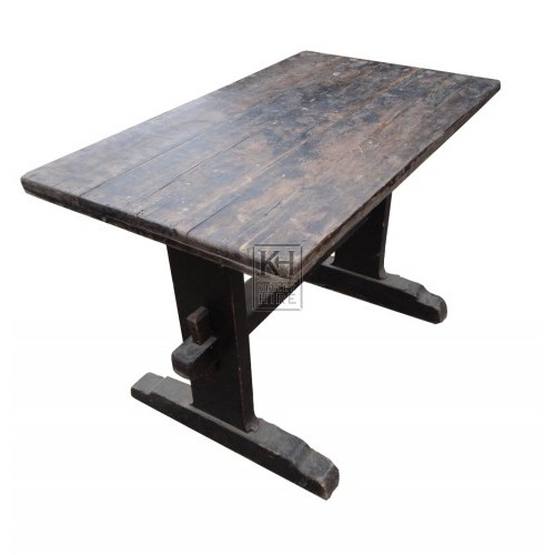 Dark wood straight leg table