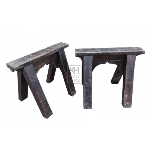Thick dark wood trestles - pair