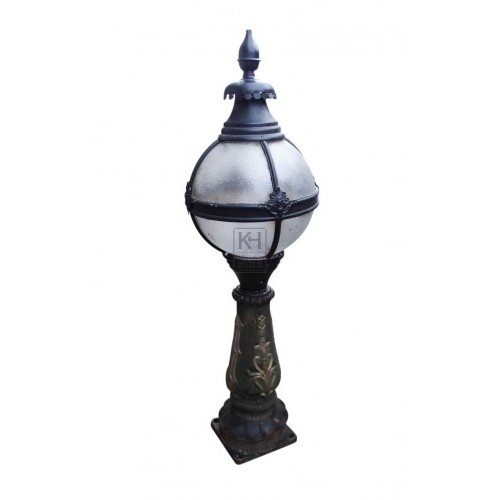 Victoria lamp top on iron pedestal