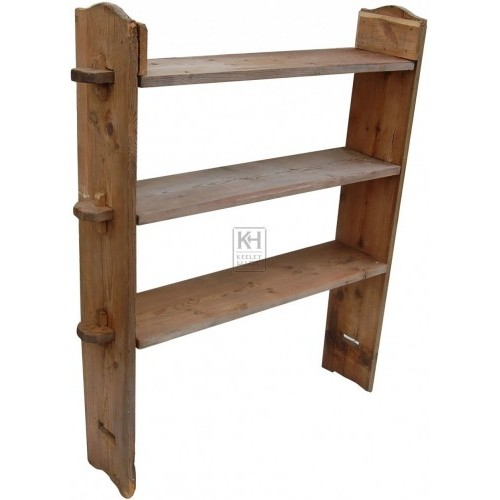 Wood slatted shelves