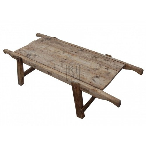 Rustic wood table adjustable legs