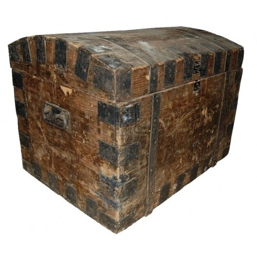 Dark Wood Chest with Metal Bands