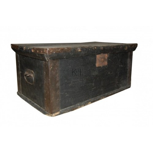 Dark Wooden Flat Top Chest with Handles