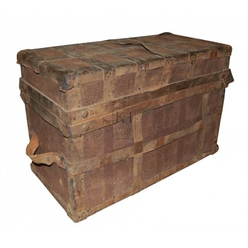 Leather Strapped Material Covered Chest