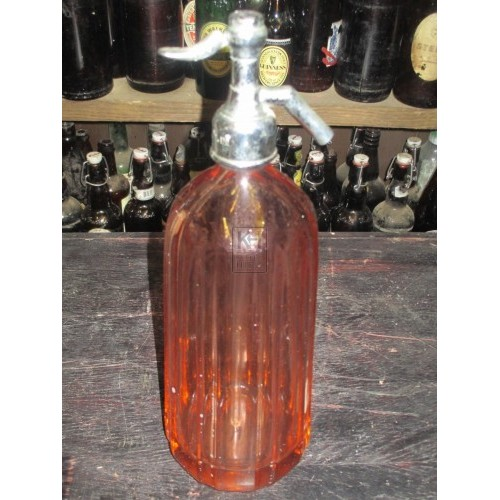 Red Glass & Chrome Soda Syphon