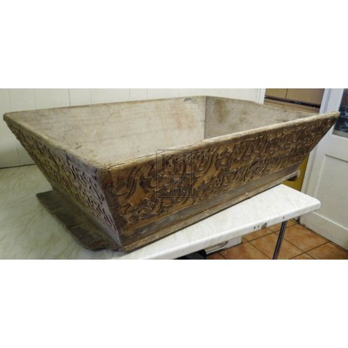 Large carved wood dough trough