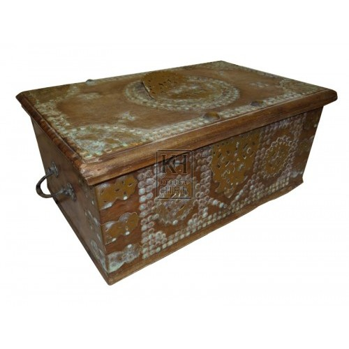 Wood chest with brass studs