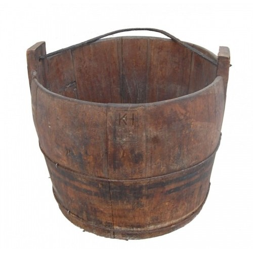 Iron Bound Wood Bucket with Iron Handle