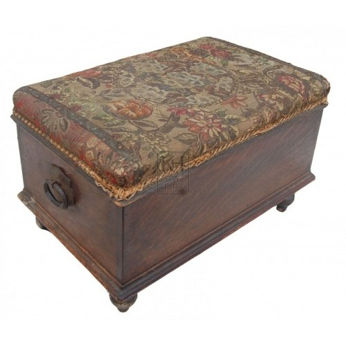 Embroided Wooden Foot Stool