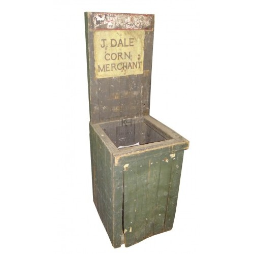 Green painted newspaper stand