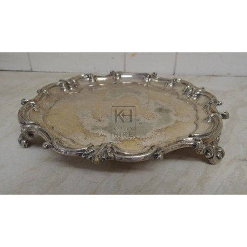 Small ornate silver dish on legs