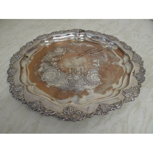 Large ornate silver plate
