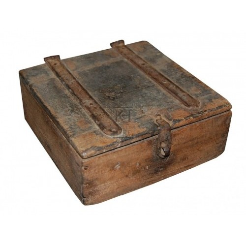 Small worn wooden box