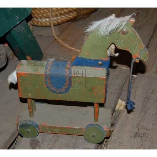 Small Green Wooden Toy Horse