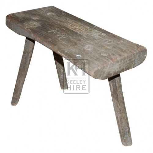 Low Grey Worn Wooden Stool