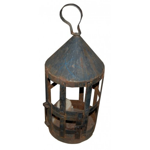 Metal Cage Lantern with Pointed Top
