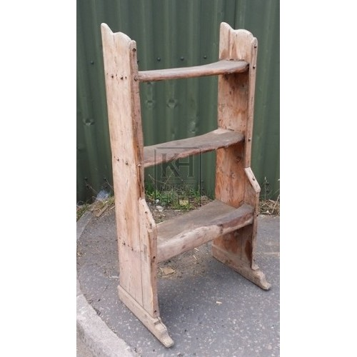 Freestanding rough wood dairy shelf