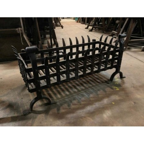 Large iron spiked fire basket