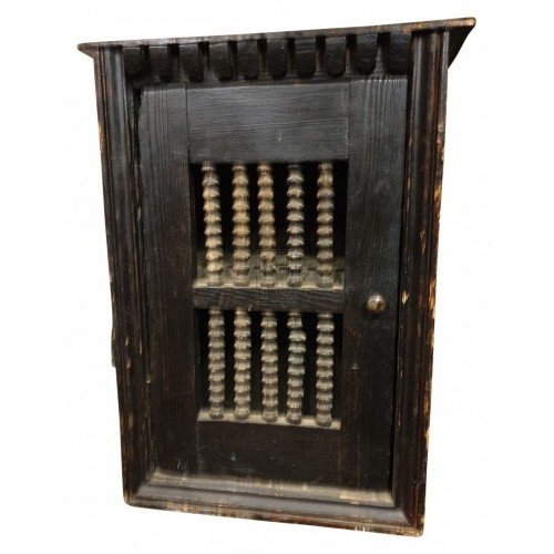 Dark wood spindle wall cupboard