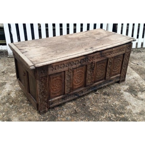Large light wood carved coffer chest