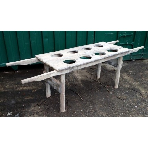 Light wood table with handles & holes