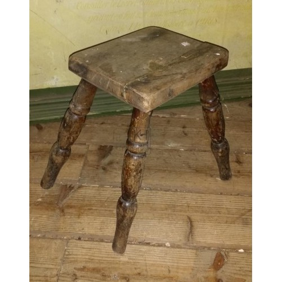 Turned leg square wood stool