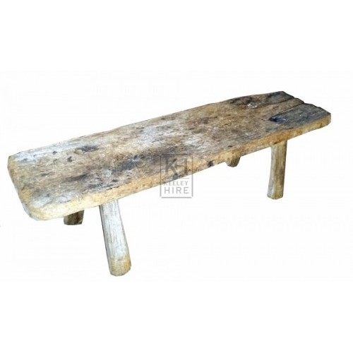Rough wood 4-leg bench