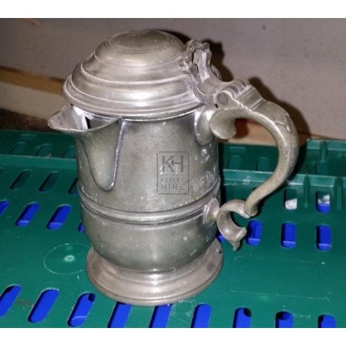 Pewter tankard with lid & spout