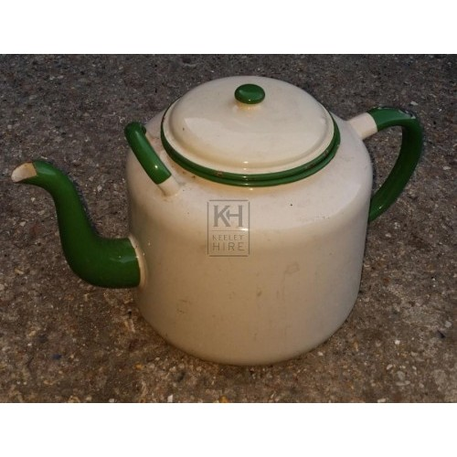 Cream & green enamel teapot