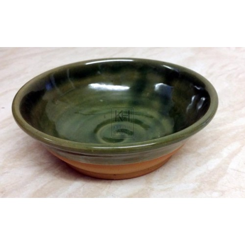 Historic green glazed pottery dish