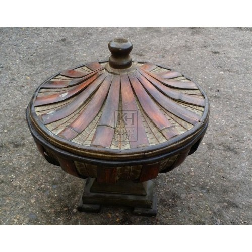 Ornate round wood tureen