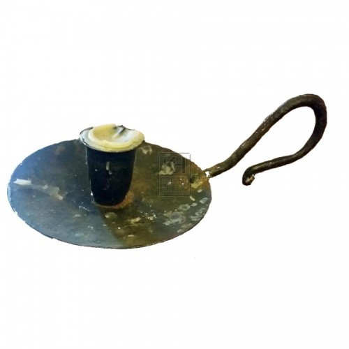 Low iron candle holder with handle