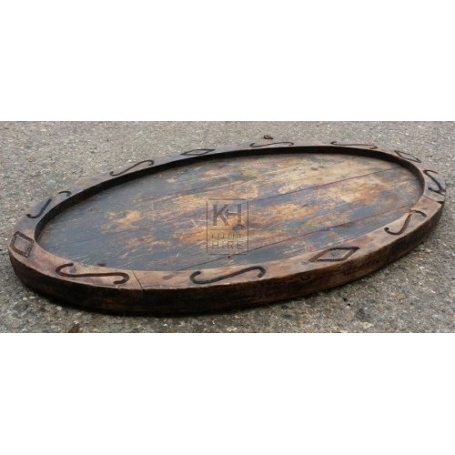 Large carved oval wood plate