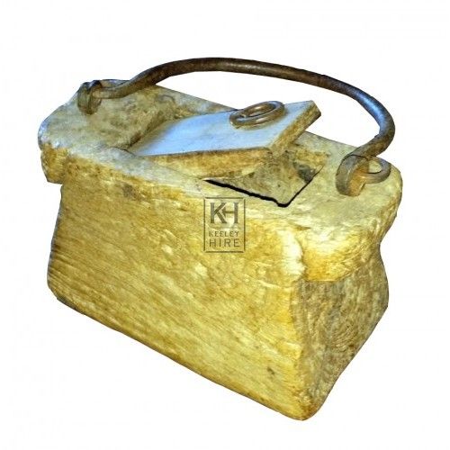 Carved wood box with iron handle