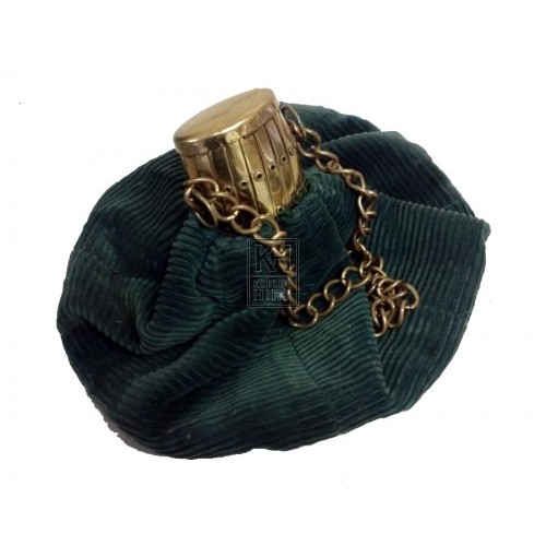 Green velvet bag with brass top