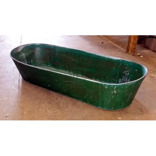 Long green galvanised bath tub