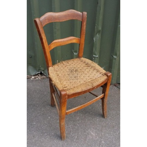 2-bar back shaped wood straw seat chair