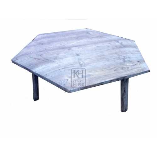 Low hexagonal wood table