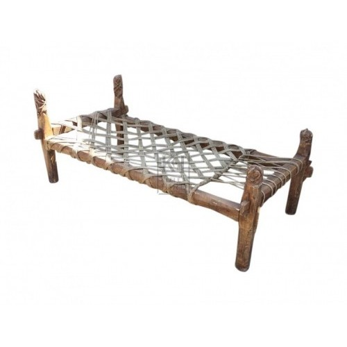 Carved leg rope woven bed
