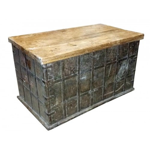 Large flat top wood & iron banded chest
