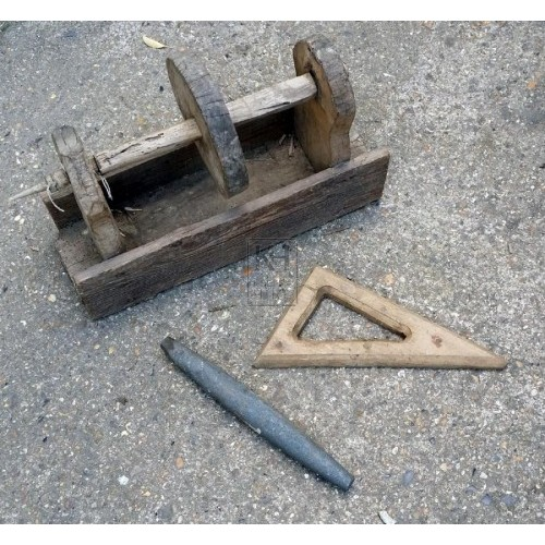Wood tool box with stone & triangle
