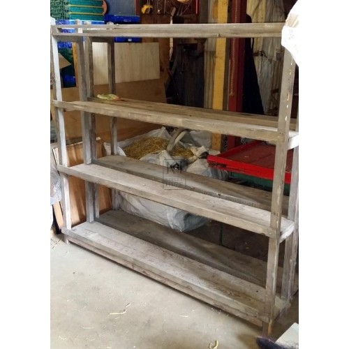 Long wood floorstanding shelf unit