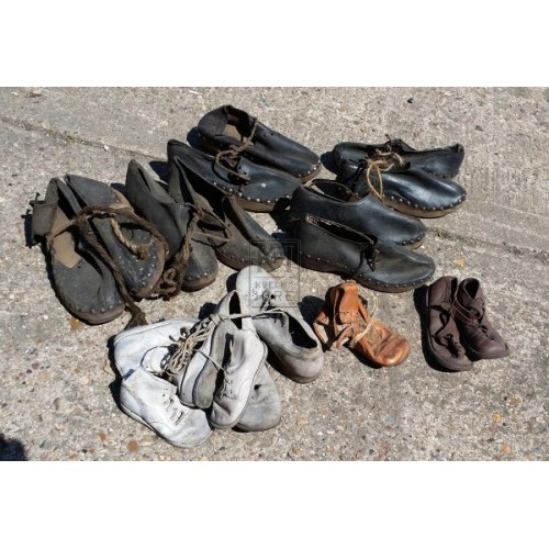 Selection of old leather shoes & clogs